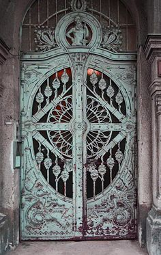 "Cast Iron ""Dragon Motif Doors,"" Art Nouveau, Budapest, Hungary."