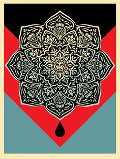 """Shepard Fairey Obey screen print titled """"Mandala Red"""" from a sold out edition of"""