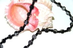 Black Necklace.  Black Glass Necklace. Black and by VsBeadDesigns, $19.00