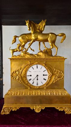 Rare variation of a Viennese quarter-hour strike, from Antique Watches, Antique Clocks, French Clock, Unusual Clocks, Big Clocks, Clock Shop, Gothic Furniture, Mantel Clocks, French Empire