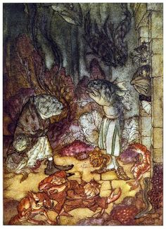 A scaly set of rascals.  Arthur Rackham, from A wonder book, by  Nathaniel Hawthorne, New York, not dated.  (Source: archive.org)