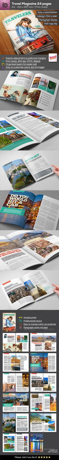 A4 Travel Magazine 24 pages — InDesign INDD #stylish #worldwide • Available here → https://graphicriver.net/item/a4-travel-magazine-24-pages/8473611?ref=pxcr