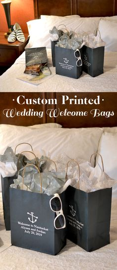 Welcome out of town guests to your destination or weekend wedding with gift bags prepared especially for them. Fill bags personalized with a special welcome message from the bride and groom with snack (Bottle Bag Wedding Favors) Wedding Welcome Gifts, Wedding Gifts For Bride And Groom, Wedding Gift Bags, Wedding Gifts For Guests, Bride Gifts, Cruise Wedding, Wedding 2017, Party Wedding, Guest Gifts