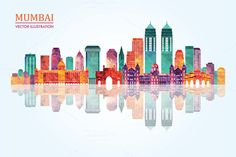 Mumbai skyline. by LisaKolbasa on Creative Market