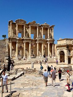 Ruins of Ephesus, Turkey. The library of Ephesus...one of the three great ancient libraries...including the one at Pergamum (also in Turkey) and Alexandria, of course in Egypt. There's a public restroom across the street.