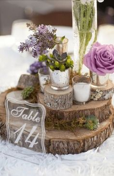 centrotavola matrimonio legno