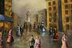 Oil color painting city barok