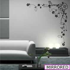 Corner Flower Vine Hibiscus Swirl Wall Decal Sticker Transfer Stencil Mural Art | eBay VARIOUS PRICES AND SIZES