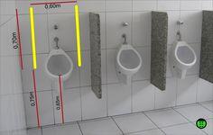 foto de como deveria ser um mictório acessível com barras paralelas na vertical Pub Interior, Bathroom Interior, Wc Public, Architect Data, Toilet Plan, Ideas Baños, Toilette Design, Bathroom Dimensions, Interactive Walls