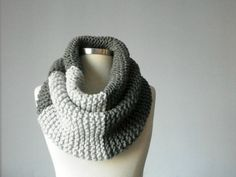 Knitting Cowl Scarf Neck Warmer  Dark grey ice white by yarnisland, $42.00