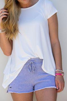Keep It Short Distressed Shorts: Grey