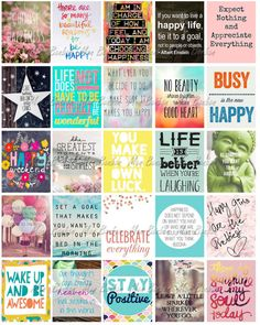 Happy Inspirational and Motivational Printable Sticker Sheet - Print at Home…