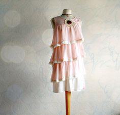 Peach Slip Dress Shabby Chic Style Women's by BrokenGhostClothing
