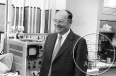 Portrait of John Bardeen in a laboratory, from 'Moments of Discovery: Superconductivity.' Bardeen is the only person to have won the Nobel Prize in Physics twice. First in 1956, second in 1972.