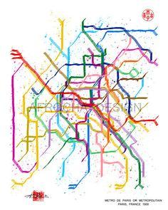 PARIS Subway Map Metro de Paris Metropolitain by AfrochaDesign