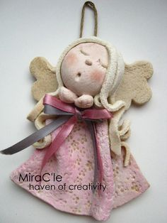 W Fine Porcelain China Diane Japan Christmas Craft Projects, Christmas Crafts For Gifts, Christmas Angels, Christmas Art, Christmas Ornaments, Salt Dough Crafts, Ceramic Angels, Angel Crafts, Polymer Clay Projects