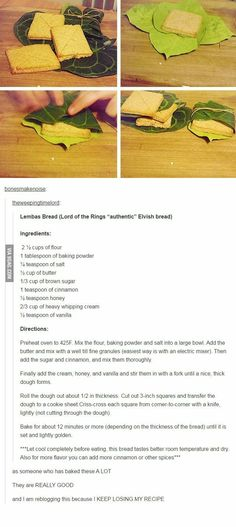Elvish Lembas bread recipe from Lord of the Rings - LotR Think Food, Love Food, Bread Recipes, Cooking Recipes, Healthy Recipes, Cooking Pasta, Cooking Pork, Lembas Bread, Lord Of The Rings