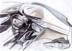 Dessin de l'intérieur et de la planche de bord de la Citroën C5 II. Ce dessin prospectif s'avčre assez éloigné de la future planche de bord de la berline Citroën C5 II.