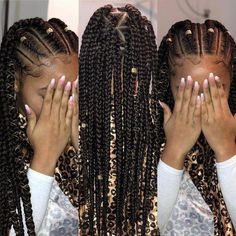 All styles of box braids to sublimate her hair afro On long box braids, everything is allowed! For fans of all kinds of buns, Afro braids in XXL bun bun work as well as the low glamorous bun Zoe Kravitz. Box Braids Hairstyles, Easy Hairstyles For Medium Hair, Try On Hairstyles, Kids Braided Hairstyles, Easy Hairstyles For Long Hair, Medium Hair Styles, Curly Hair Styles, Natural Hair Styles, Fashion Hairstyles