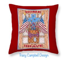 Home of the Brave Throw Pillow for Sale by Tracy Campbell