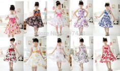 Online Shop Alta qualidade novo 2014 flores de algodão vestido da menina meninas verão vestidos crianças roupa moda girl child vestuário vestido de festa retail|Aliexpress Mobile