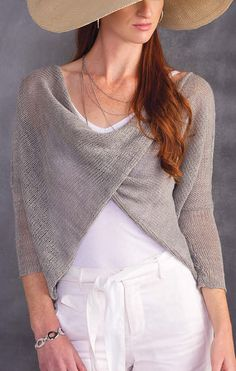 Knitting Pattern for Crisscross Meshy Top - This wrap front cardigan sweater is rated easy by Annie's and is great for layering. Sizes: S (M, L, XL, 2XL)