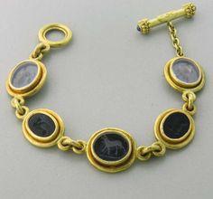 Elizabeth Locke Intaglio Glass Onyx Animal Motif Toggle Bracelet | From a unique collection of vintage more bracelets at http://www.1stdibs.com/jewelry/bracelets/more-bracelets/