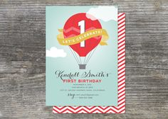 Hot Air Balloon Birthday Party Invitation, Up Up and Away (15). $28,35, via Etsy.