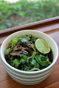 Mushroom, kale, soba noodles with a tahini ginger dressing