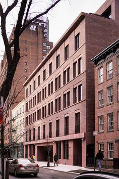11-19 Jane Street | David Chipperfield Architects Greenwich Village, Beam Structure, David Chipperfield Architects, Architects London, Street Pictures, Concrete Facade, Apartment Floor Plans, New York, Brick Building