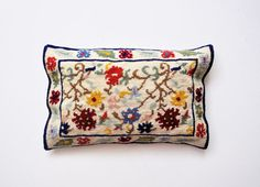 Vintage Handmade Needlepoint Pillow  Made in by thewhitepepper