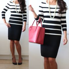 Work outfit: black and white stripes with pop of red