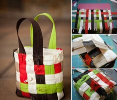 Use colorful zipper to weave a lovely bag / purse . LOVE it  #diy #craft #bag