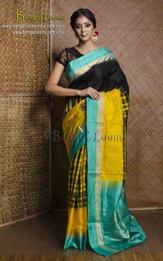Pure Handloom Pochampally Silk Saree in Black, Yellow and Mint Green