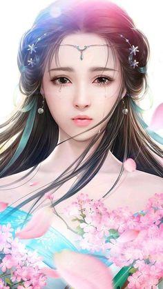 trendy ideas for fantasy art women beauty paintings Anime Art Fantasy, Fantasy Girl, Fantasy Art Women, Beautiful Fantasy Art, Fantasy Kunst, Beautiful Anime Girl, Fantasy Artwork, Chinese Drawings, Chinese Art