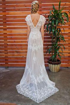 cotton lace bohemian wedding gown