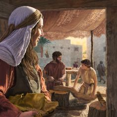 Mary watching fondly as Joseph teaches carpentry to their teenage son Jesus Spiritual Pictures, Religious Pictures, Bible Pictures, Jesus Pictures, Lds Art, Bible Art, Christian Images, Christian Art, Jesus Childhood