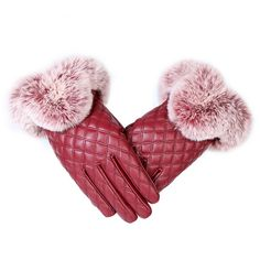 KUYOMENS Fashion Women Warm Thick Winter Gloves Leather Elegant Girls Brand Mittens Free Size With Rabbit Fur Female Gloves #KUYOMENS #Gloves_Mittens #women_clothing #stylish_Gloves_Mittens #style #fashion
