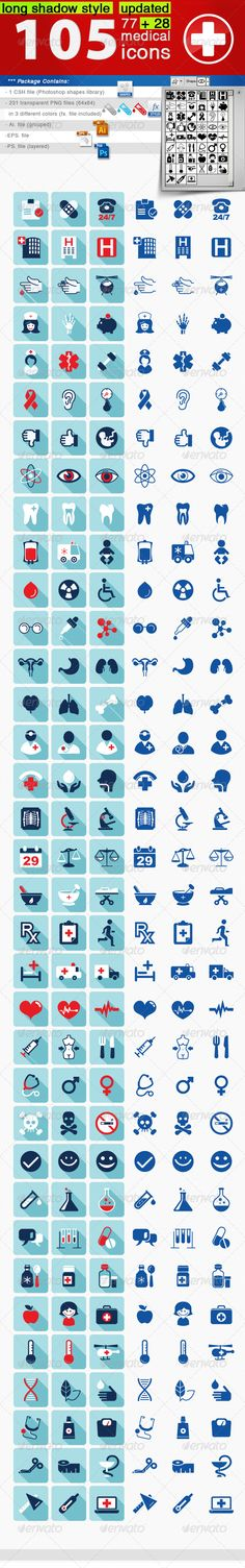 Buy 105 Medical Icons Set by balazsrenata on GraphicRiver. Package Contains: - 1 CSH file (Photoshop shapes library) - 231 transparent PNG files in 3 diferent colors (. Medical Memes, Medical Icon, Medical Logo, Medical Art, Hospital Signage, Medical Drawings, Health Icon, Health Care, Medical Brochure