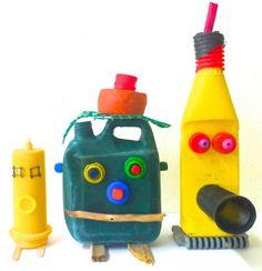 Customiser de vieilles bouteilles et de vieux bidons pour créer des personnages rigolos !