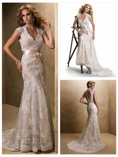 Slim Cap Sleeves V-neck Lace Open Back Wedding Dresses
