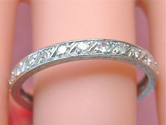 ANTIQUE ART DECO .62ctw DIAMOND PLATINUM ENGRAVED ETERNITY BAND RING 1920 sz 9.5  #EternityRing www.MelsAntiqueJewelry.com