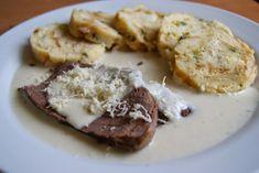 Křenová omáčka s hovězím masem Pesto, Baked Potato, Stew, Pork, Potatoes, Baking, Ethnic Recipes, Bude, Parisians