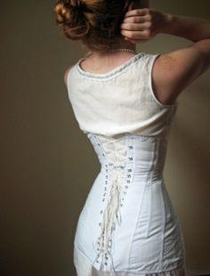 White Reproduction Vintage Corset...
