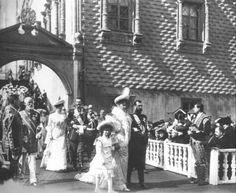 Nicholas with Alexandra and little Olga, aged 8 with Grand Duke Serge and his wife, Ella(sister to Alexandra) behind them.    This was the official procession of the family from the Kremlin to the cathedral of the Dormition of the Virgin Easter Sunday, March 30, 1903 in Moscow, Russia.