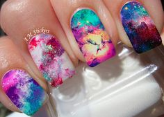 Galaxy nail decals, very pretty, bright stickers with unique designs.