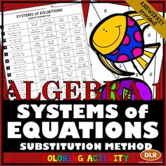 Systems of equations, Color by numbers and Equation on