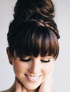 updo for medium hair with bangs front - Google Search