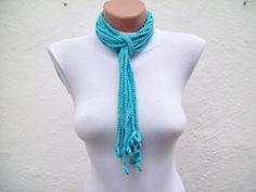 Hand crochet Lariat Scarf Blue Turquoise  Lariat Scarf by nurlu