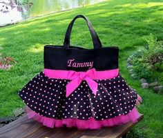 Embroidered Dance Bag - Black Bag with Hot Pink Polka Dot Skirt and Hot Pink Tulle Tutu Tote Bag - - FHip Girl Boutique Free Hair Bow Instructions--Learn how to make hairbows and hair clips, FREE!This would be great for dance lessons! Custom Tote Bags, Tote Bags Handmade, How To Make Tutu, Patchwork Bags, Girls Boutique, Fabric Bags, Yellow Leather, Kids Bags, Pink Polka Dots